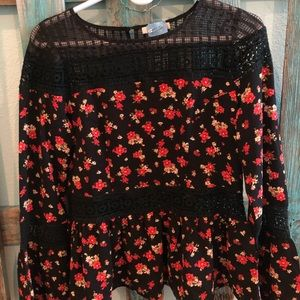 Black, red, and white floral long sleeve blouse!